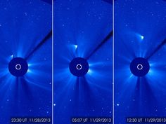 "Bright, brighter, brightest: these views of Comet ISON after its closest approach to the sun Nov. 28 show that a small part of the nucleus may have survived the encounter. Images from the Solar and Heliospheric Observatory. (Credit: ESA/NASA/SOHO/GSFC) Mona Evans, ""Comets"" http://www.bellaonline.com/articles/art33712.asp"