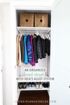 We used the IKEA ALGOT system to create an organized coat closet in our mudroom, and it has helped keep all of our coats and outerwear neat and tidy! Ikea Closet Hack, Ikea Closet Organizer, Coat Closet Organization, Closet Hacks, Closet Ideas, Entryway Organization, Organized Entryway, Closet Storage, Organize Coat Closet