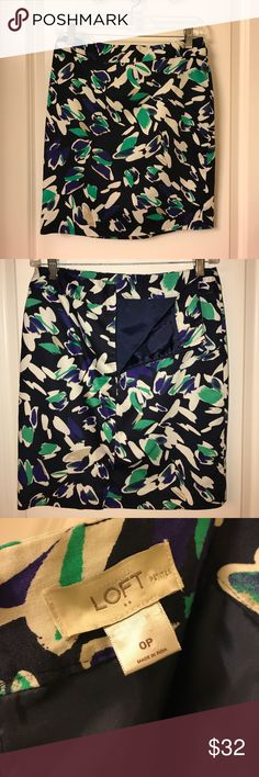Loft Pencil Skirt Navy Loft Pencil Skirt with beige, blue, and green designs. 0 Petite. Fully lined. Very soft and comfortable! Looks great with the green Loft Blouse also listed in my closet. Bundle for a great deal! LOFT Skirts Pencil