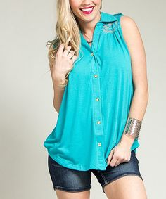 Another great find on #zulily! Jade Floral Lace Button-Up - Plus #zulilyfinds