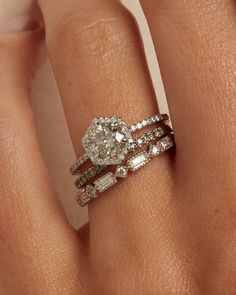 The Ophelia Ring Setting – Après Jewelry Stacked Wedding Bands, Wedding Band Sets, Best Wedding Rings, Stackable Wedding Bands, Big Diamond Wedding Rings, Unique Wedding Rings, Emerald Cut Wedding Band, Stackable Diamond Rings, Wedding Ring Styles