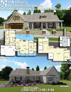 Architectural Designs Rustic Farmhouse Plan 64466SC gives you 3+ beds, 4+ baths and over 2,500 sq. ft. of heated living space. Comes with an optional lower level (2,600 sq. ft+) and an optional bonus level (400 sq. ft+). Ready when you are. Where do YOU want to build? #64466SC #adhouseplans #architecturaldesigns #houseplan #architecture #newhome #newconstruction #newhouse #homedesign #dreamhome #dreamhouse #homeplan #architecture #architect #housegoals #farmhouse #modernfarmhouse #rustichome