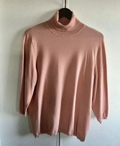 SALE CHICOS SZ 4 Solid PEACH 3/4 SLEEVE Rayon/POLY BLEND TURTLENECK KNIT TOP #Chicos #KnitTop #Casual