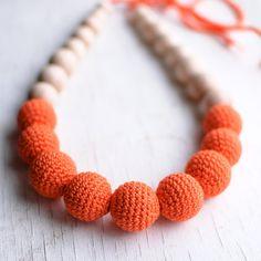 Nursing necklace / Teething necklace  Orange by SvetlanaN on Etsy, $26.00  #teething necklace #nursing necklace #wooden #natural #gift for new mom #orange #tangerine