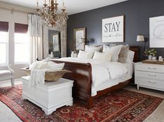 master bedroom with chandlier and large rug master bedroom Tour This Family Home That's Filled with Remarkable Flea Market Finds Bedroom Decor Dark, Gray Bedroom Walls, Bedding Master Bedroom, Master Bedroom Makeover, Farmhouse Master Bedroom, Master Bedroom Design, Home Bedroom, Bedroom Ideas, Master Bedrooms