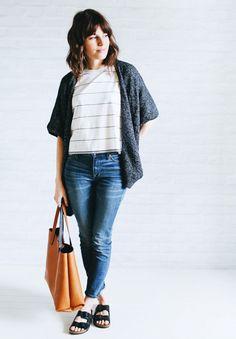 Cape cardigan + Striped shirt + Skinny jeans + Birkenstocks