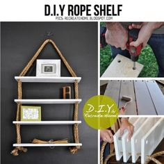 Rope shelves...although I'd run the rope all the way across the bottom to avoid those ugly knots on the bottom. And I'd leave the top as two separate hangers instead of combining them into one. - Nessa