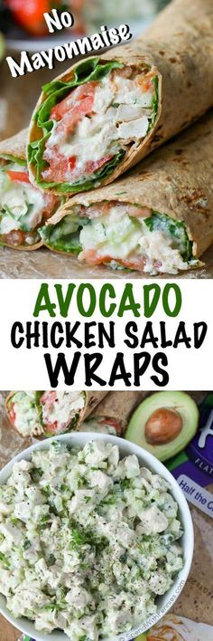This easy Avocado Ranch Chicken Salad is loaded with flavor (and contains no mayonnaise) for a deliciously lighter version of a typical chicken salad. It is paired with our favorite fresh vegetables and wrapped in a light Flatout flatbread for a low cal lunch that will keep your belly happy all day long! #JamiesCleanEatingrecipes