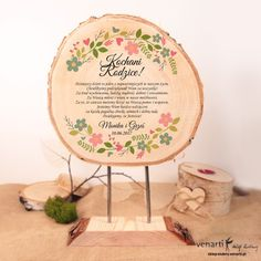 Podziękowania dla Rodziców z drewna - motyw wianka (Kod: SD018) Statuetki ślubne Podziękowania -Venarti - Sklep ślubny Słupsk
