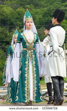 Adygea RUSSIA - JULY 25 2015 Young guys and girls dancers in traditional Adyghe dresses dance at an ethnofestival in the Foothills of Caucasus in Adygea - stock photo New Outfits, Cool Outfits, Fashion D, Folk Costume, World Cultures, Guys And Girls, Dance Dresses, Traditional Dresses, Dance Costumes