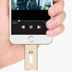 iOS Flash USB Drive for iPhone & iPad + Free Cable - 8GB / Gold