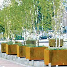STREETLIFE Corten Shrubtubs. Square tree planters in CorTen steel. #StreetFurniture #UrbanGreen #TreePlanter  #CorTen