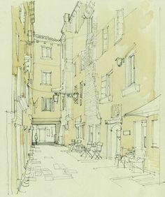 Calle Cinque, Rialto, Venice Architectural Illustration, Watercolour Sketch www.nickhirst.co.uk
