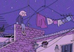 Kunst Zeichnungen - alone at night Poster - Best Art Pins Purple Aesthetic, Aesthetic Anime, Aesthetic Art, Aesthetic Drawings, Aesthetic Images, Inspiration Art, Art Inspo, Pretty Art, Cute Art