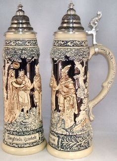 This beautiful stoneware beer stein was handcrafted in Germany by King. This new stein has a pewter lid. The masterpiece stein is based on an historic original in German Beer Steins, Beer Company, Beer Mugs, Beer Lovers, Craft Beer, Brewery, Beer Bottle, Pewter, Stoneware