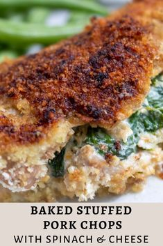 Stuffed Pork Chops with Spinach & Cheese Baked stuffed pork chops with spinach & cheese are breaded with panko and baked in the oven until crispy and juicy for an easy family dinner. Easy Vegetarian Dinner, Dinner Recipes Easy Quick, Delicious Recipes, Tasty, Pork Loin Chops, Boneless Pork Chops, Salsa Barbacoa, Pork Chop Recipes, Meat Recipes
