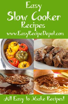Awesome collection of EASY to make slow cooker recipes. All delicious meals that use easy steps and ingredients. You gotta check these out!