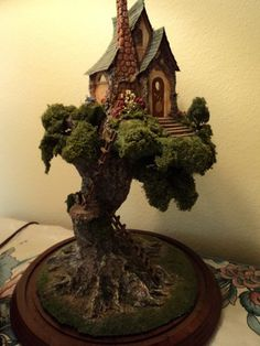 Miniature Tree House tutorial: make a mini tree for indoor fairy garden, diorama, or