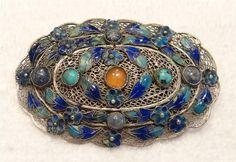 Large Antique Chinese Silver Filigree Enamel Turquoise Carnelian Lapis Brooch   eBay