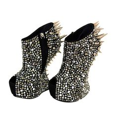 These Heels are all about SPARKLE...Walking however maybe an issue but at least you'll be the most Sparkle Worthy SEATED Girl in the Room!!!!!::::::GIUSEPPE ZANOTTI Peep-Toe Platforms With Spikes And Rhinestones