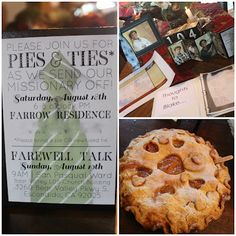 """Pies and Ties"" Missionary Farewell Open House ~ such a cute idea"