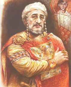 MAURICE (539 - 602; Byzantine Emperor 582 - 602).  Painting by Emilian Stankev (20th Cen.). www.churchhistorytimelines.com