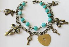 Initial charm bracelet, by romanticcrafts, $21.00