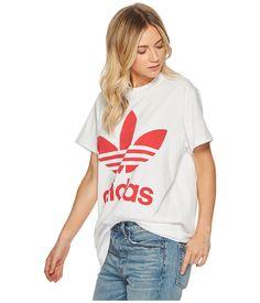 84e969615a943 Adidas originals big trefoil tee. Adidas OriginalsT Shirts For Women.  adidas Originals Big Trefoil Tee Women s T Shirt White Radiant Red