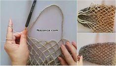 orgu-tigla-alisveris-market-pazar-filesi-yapilisi Love Crochet, Knit Crochet, Net Bag, Handmade Purses, Knitting Videos, Crochet Handbags, Simple Bags, Knitting Accessories, Knitted Bags