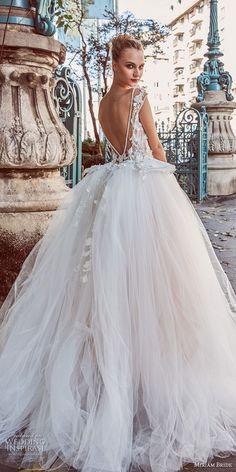 miriams bride 2018 bridal cap sleeves illusion bateau sweetheart neckline tulle skirt romantic ball gown a line wedding dress v back chapel train (1) bv