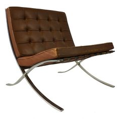 Mies Van Der Rohe for Knoll Barcelona Chair, 1960's.  Love it in the chocolate leather.