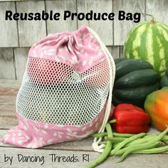 Sew your own reusable produce bag for the farmer's market & supermarket!