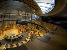 The central chamber of the Welsh Assembly at Cardiff Bay, shot from the public viewing gallery.