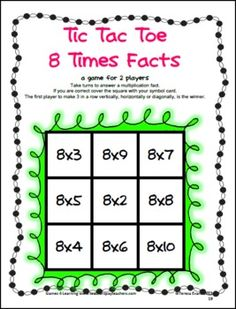 Tic Tac Toe Multiplication Facts from Games 4 Learning combines the fun of Tic Tac Toe and with practice of basic multiplication facts.  It includes 24 Tic Tac Toe Multiplication Game Boards. $