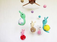 Colorful Snails Amigurumi Baby Mobile Snail baby by IvoryTreeHouse