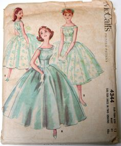 Vintage sewing pattern formal dress with full skirt 1950s McCalls 4344 bust 31