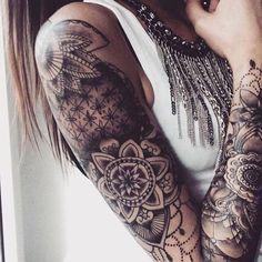 Embedded image hair and beauty henna tattoo sleeve, tattoos Finger Tattoos, Body Art Tattoos, Tribal Tattoos, Girl Tattoos, Tattoo Girls, Girls With Sleeve Tattoos, Tattoos For Guys, Tatuagem Cello, Mandala Bras