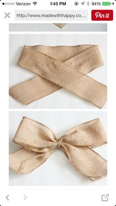 PERFECT Burlap Bow Tutorial I had no idea how to make bows before this. Super clear, step-by-step directions and pictures.Welcome to Ideas of Simply Sweet DIY Burlap Bow article. In this post, you'll enjoy a picture of Simply Sweet DIY Burlap Bow des Diy Hair Bows, Diy Bow, Diy Ribbon, Ribbon Bows, Burlap Ribbon, Ribbons, Bow From Ribbon, Pew Bows, Ribbon Flower
