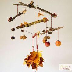 Kreativ mit Kindern Herbst Mobilee basteln diy Mobilee
