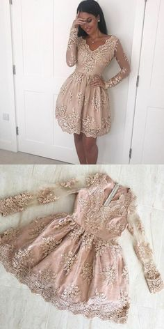 simple v neck short homecoming dresses, long sleeves short prom dress with appliques, champagne homecoming dresses with sleeves #homecomingdresses