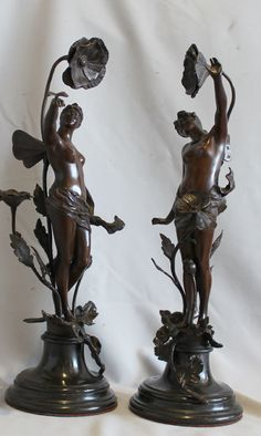 Pair Of Antique Art Nouveau Bronzes Of Nymphs With Applied Flowers On Circular Bases, Having Well Sculpted Faces And Figures, Clearly Of The Moreau Genre - France   c.1890