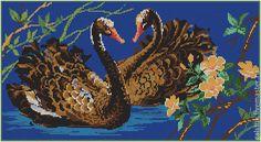 Схема для вышивания бисером Лебеди любви -полная зашивка бисером - схема вышивки бисером