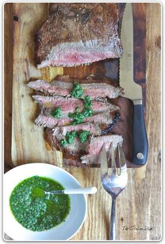 Grilled beef with salsa verde