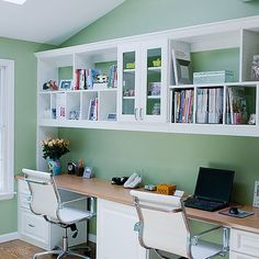 Wall+Desk+Cabinet | Functional home office for two. Center cabinet hides printer. Adequate ...