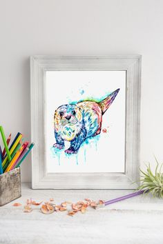 Otter Watercolor Art Print by Lisa Whitehouse - Sea Otter painting, Woodland Animal, Nursery Wall Art, Baby room pictures, Kids room decor Baby Room Art, Baby Wall Art, Nursery Wall Art, Baby Rooms, Dog Paintings, Original Paintings, Baby Room Pictures, Animal Art Prints, Fine Art Paper
