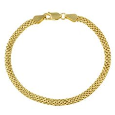 """18k Yellow Gold Plated Sterling Silver Mesh Chain Bracelet, 7"""""""