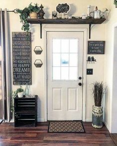 Are you looking for images for farmhouse living room? Browse around this website for amazing farmhouse living room inspiration. This unique farmhouse living room ideas looks totally amazing. Sweet Home, Entryway Decor, Above Door Decor, Door Entryway, Shelf Above Window, Kitchen Entryway Ideas, Shelf Over Door, Entryway Storage, Entrance Decor