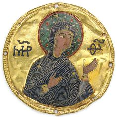 Medallion with the Virgin from an Icon Frame  Date:ca. 1100 Geography:Made in Constantinople Culture:Byzantine Medium:Gold, silver, and enamel worked in cloisonné Dimensions:Diam: 3 1/4 in. (8.3 cm) Mount: 20 1/2 x 15 x 7/8 in. (52.1 x 38.1 x 2.2 cm)