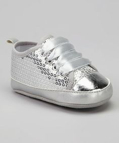 Take a look at this Silver Sequin Sneaker by Tender Toes on #zulily today!