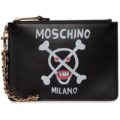 Moschino Lipstick Skull Printed Leather Pouch ($330) ❤ liked on Polyvore featuring bags, handbags, clutches, nero, moschino handbags, real leather handbags, skull purse, moschino and leather handbags